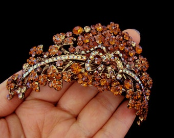 Large Crown Shape Cluster Hair Barrette Clip Accessory Ponytail Holder Antique Gold Tone Amber Topaz Brown