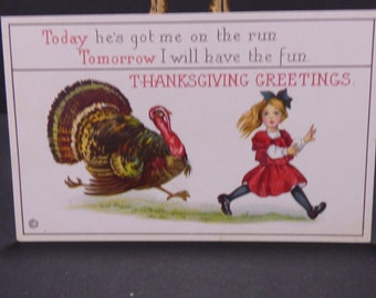 Vintage Comic Thanksgiving postcard