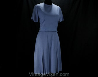 Size 6 Summer Dress - 1960s Short Sleeved Blue Tailored Dress - Early 60s Classic - Buttoned Half Belt - Alison Ayres - Waist 26 - 50142