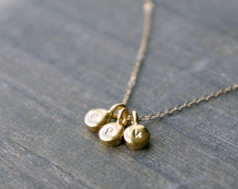 Three Gold Personalized Pebbles Necklace / 3 Tiny Disc Pendants w/ Hand Stamped Lowercase Letters • gift for her • graduation • best friends