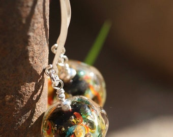 Lampwork and silver earrings, Glass Earrings, Ocean Earrings, artisan lampwork bead 3D, Earrings Lampwork Aquarium, black, red, yellow