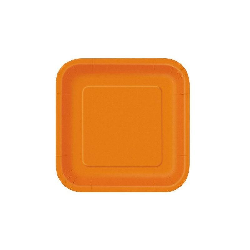 Orange Dinner Plates Orange Square Plates 14 COUNT Paper
