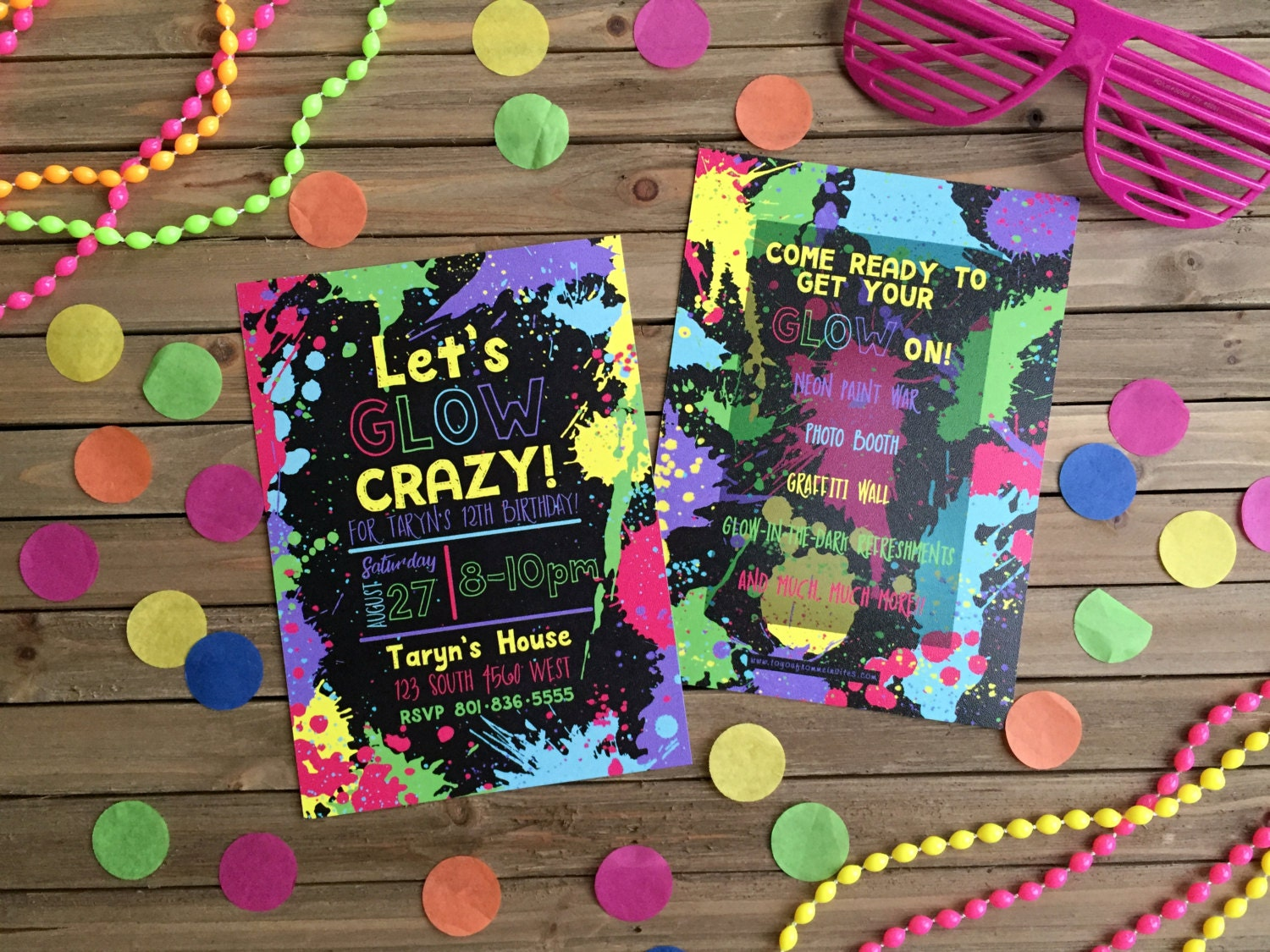 Digital Party Invitation - Customizable - Neon Party - Glow-in-the ...