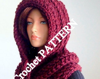 Instant Download PATTERN ONLY. Crochet Hooded Cowl
