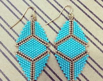 Beaded Meg Earring in Turquoise and Gold