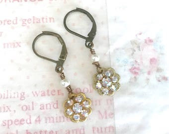 dainty dangle earrings with AB Swarovski crystals and pearls on antique brass lever backs  #1094-12