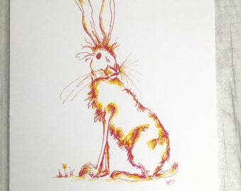 Hare ink drawing, hand drawn original illustration, mad March hare, rainbow hare, original artwork, gift for hare lover, A4 wall art