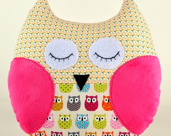"Cuddle owl, OWL pillow. Plush cuddle kids cushion ""Small owls"""