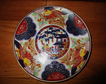 Vintage Hand Painted Porcelain Wall Plate - Oriental House with Flowers and Birds Made in Japan