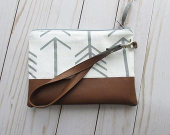 Grey Arrows Wristlet - with Vegan Leather - Cosmetic Bag - Personalized Makeup Bag - with Monogram - Clutch Wristlet