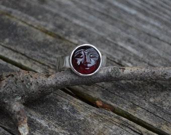 Garnet Man in the Moon Ring, Garnet Ring, Garnet, Red Gemstone Ring, Carved Gemstone