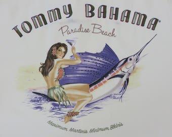 TOMMY BAHAMA Shirt Embroidered Hawaiian Shirt Paradise Beach Maximum Martinis Minimum Bikinis 100% Silk Mens Camp -M- Oahu Lew's Shirt Shack