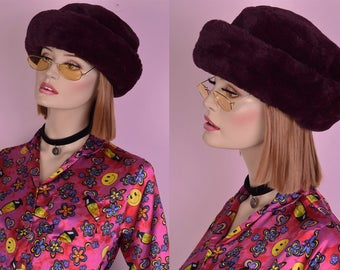 90s Magenta and Black Faux Fur Hat/ 1990s/ Plush