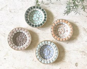 Vintage Mid Century Mosaic Tile Trinket Dish / Set of 4 / Bohemian Home Decor