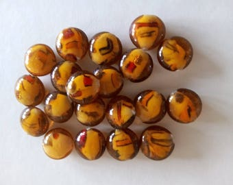 "Set of 20 beautiful mottled glass beads ""Brown / ORANGE"""