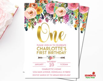 Girl 1st Birthday Invitation, Floral 1st Birthday Invitation, Pink & Gold Birthday Invitation, Personalized Printable Invitation, A15