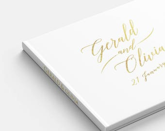 Gold Foil Wedding Guest Book landscape guest book horizontal wedding guest book hardcover wedding book Personalized names photo guest book