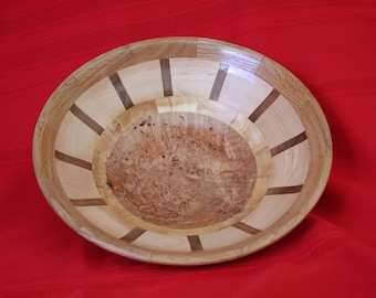 247 Segmented Bowl with Maple Burl Bottom, Maple and Mohogany with White Oak top Ring