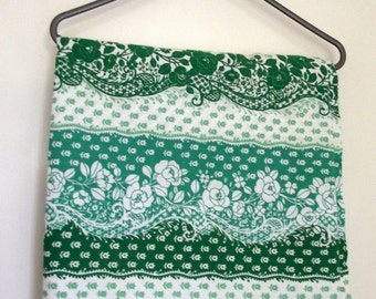 Vintage Pair of Curtains - Flowery Fabric - green and white