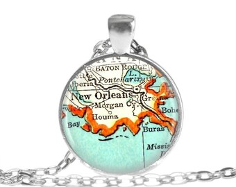 New Orleans jewelry, map necklace pendant charm, Louisiana necklace, Map Jewelry by Location Inspirations, mothers gifts, mom gift, A238