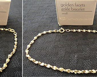 "Your Choice ~ Matching AVON Ankle & Wrist Bracelets ""Golden Facets"" (JC0015-16)"