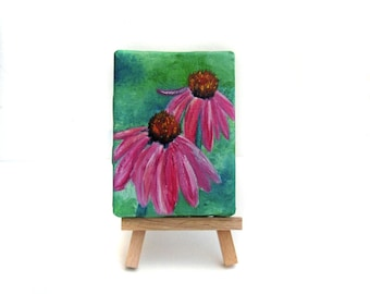 Purple Coneflower Painting - Echinacea Art - Echinacea Painting - Coneflower Art - Wildflower Painting - Wildflower Art - Mini Painting