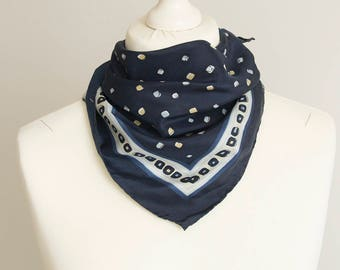 "Vintage Square scarf, silk scarf, fabric women scarf shawl 50cm / 20"" navy blue geometric scarf"