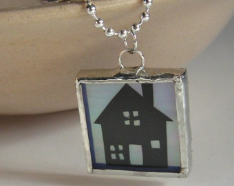 Sale 50% off  Home Cut Paper Silhouette and Glass Pendant Necklace