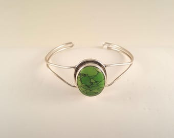 Green Turquoise and .925 Sterling Silver Cuff Bracelet