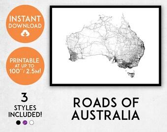 roads of australia map print printable australia map art australia print australia map