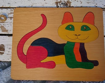 Wooden jigsaw puzzle with kitty/funny cats koppie/11-piece/Kids room/Cat/Retro/wood/Years 70? /Toddler/Toys/Vintage