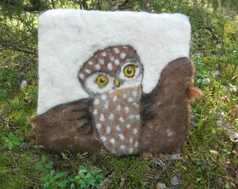 Felted Owl Chair Pad