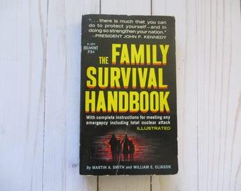 Survival Book , The Family Survival Handbook, Cold War Memorabilia, Vintage Books, Paperback Books, 1960s book