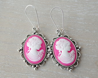 Cameo earrings Valentine day gift for her idea Victorian Earrings Mother's day gift mom Vintage jewelry Bridesmaid earrings Wedding jewelry