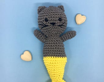 Plush Cat-mermaid made by hand in cotton; Amigurumi Grey Cat; Baby puppet.
