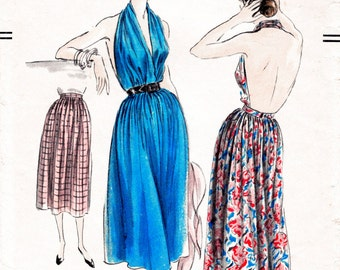 1950s 50s Marilyn  halter dress plunge backless style full skirt Vintage Sewing Pattern size xsmall small medium large repro