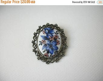 ON SALE Vintage 1950s Silver Frame Hand Painted Porcelain Pin 80117