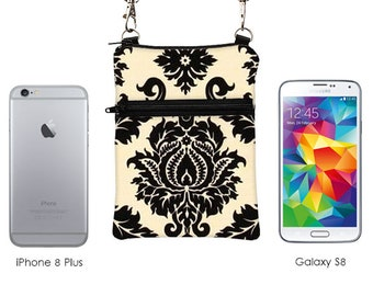 Small Cross Body Bag, Fits iPhone 8 Plus Shoulder Bag, Samsung Galaxy Travel Bag, Cell Phone Purse with Strap - cream and black damask