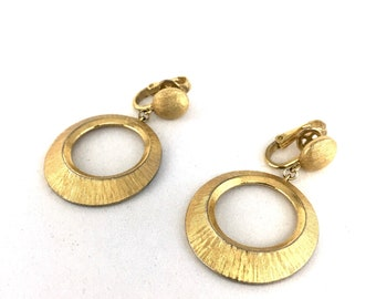 Crown Trifari Gold Dangle Hoop Earrings Clip On Gift for Her Vintage Mod Jewelry Brushed
