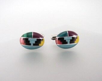 Gemstone Cufflinks - Multicolor Cufflinks - Turquoise, Malachite, Jasper gemstone - Hand Made in USA