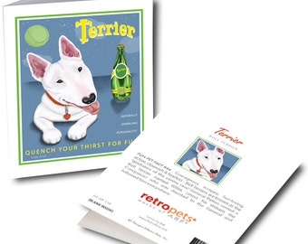 """Bull Terrier Cards """"Terrier"""" Perrier Spoof - 6 Small Greeting Cards by Krista Brooks"""