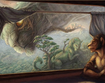"""Fantasy Art Print """"Thoughts of the past"""""""