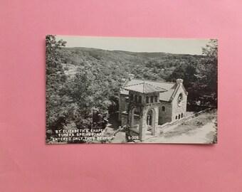 vintage black and white postcard st elizabeth's chapel eureka springs arkansas