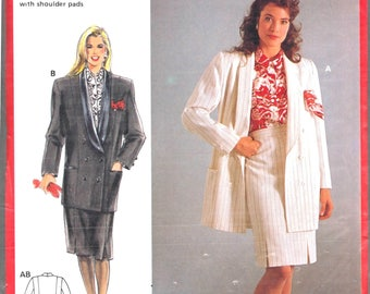 Burda 5428 Woman's Double Breasted Shawl Collar Lined Suit Jacket, Panel Skirt Sewing Pattern Size 12, 14, 16, 18, 20 Vintage 1980's UNCUT