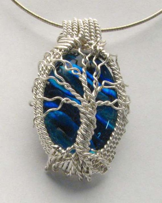 Handmade Solid Sterling Silver Wire Wrap Blue Paua Shell Pendant