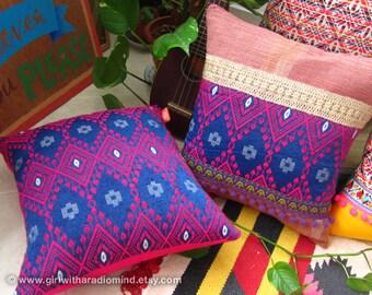 Bohemian Turkish Pillow Set of 2 Purple Pink - Gypsy Geometric Decorative Throw Pillows