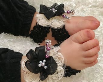Baby girl headband & barefoot sandals black and purple set. baby gift-first birthday- baby shower- newborn photos set.