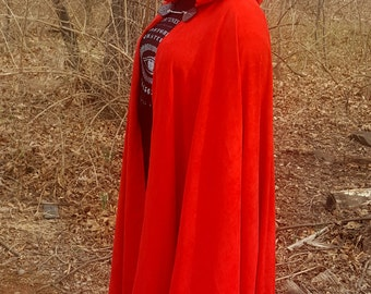 Red Long Cloak - Full Circle Microsuede Medieval Renaissance Cloak - Interchangeable Leather Detail Clasp