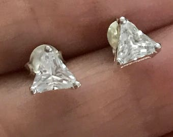 Sterling Silver 5mm Trillion Cut Cubic Zirconia cz Stud Earrings