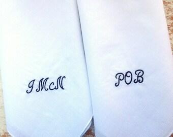 groomsmen gift mongrammed lot of 2 wedding handkerchief